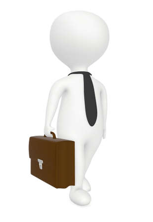 3d character, man wearing tie and holding briefcase