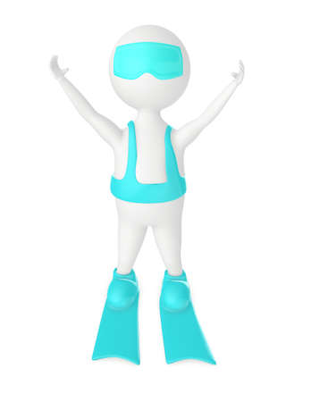 3d character, man wearing swimsuit