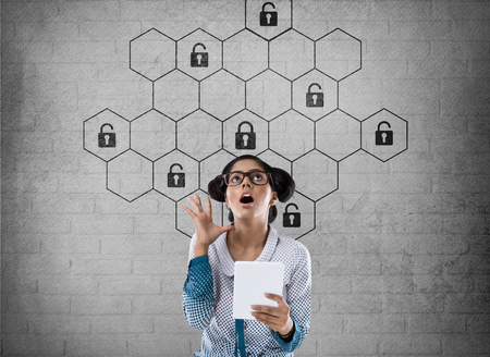 to contemplate: Thoughtful businesswoman with hexagonal lock security concept Stock Photo