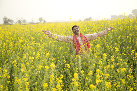 Farmer with arms outstretched in rapeseed field Stock Photo