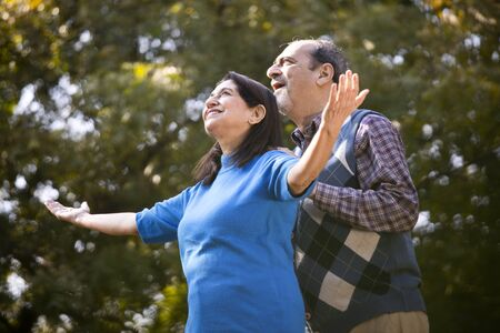 Senior couple with arms outstretched at park Banco de Imagens