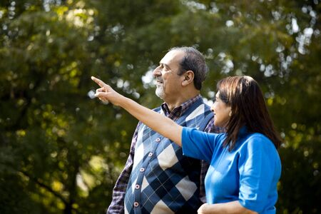 Senior couple admiring something at far end in park Banco de Imagens