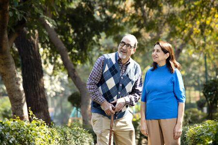 Happy senior couple admiring view at park Banco de Imagens - 138467487