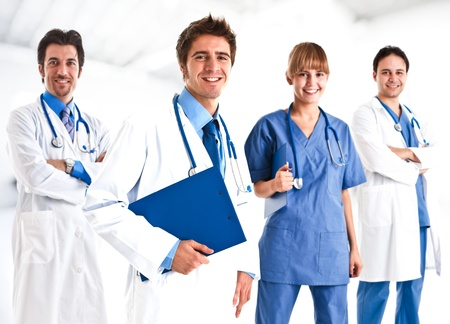 the medic: Portrait of a doctor and his team Stock Photo