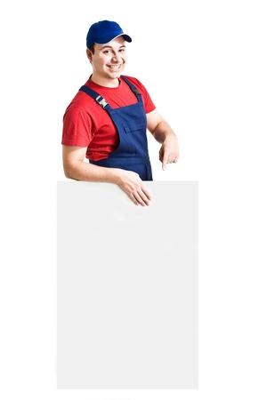 Friendly worker showing an empty board photo