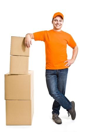 Portrait of an handsome deliverer photo
