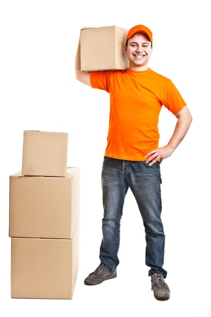 orange man: Portrait of an handsome deliverer Stock Photo