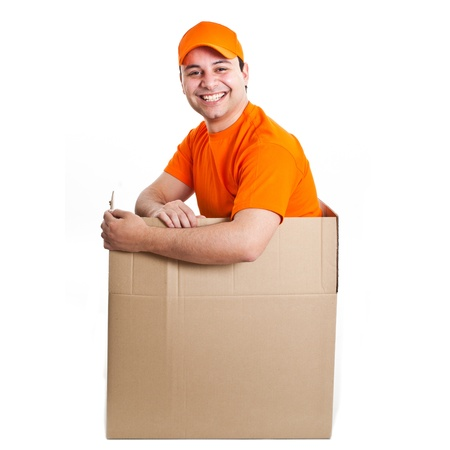 Happy deliverer inside a box Stock Photo - 13945044