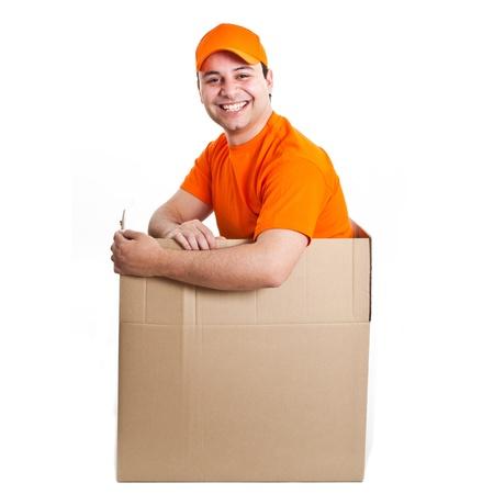 consign: Happy deliverer inside a box