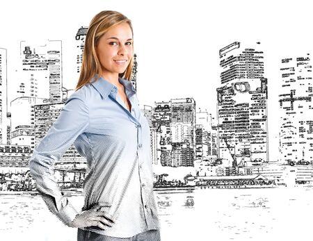 arquitecto caricatura: Mujer elaborado en frente de una gran ciudad Foto de archivo