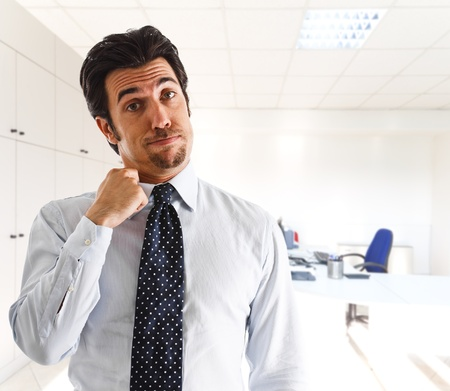 heart heat: Employee sweating in his office Stock Photo