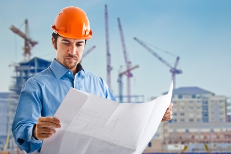 site: Portrait of a site manager reading a drawing Stock Photo