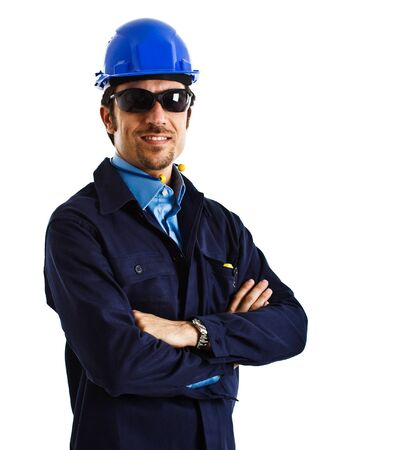 Site manager portrait. Isolated on white photo