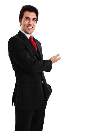 Portrait of a smiling businessman showing a blank space photo