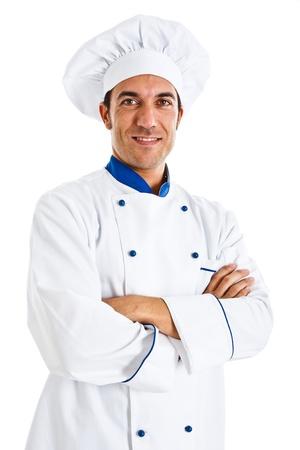 chef italiano: Retrato de un chef de confianza aislado en blanco