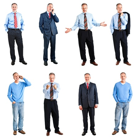 body work: Collection of full length portraits of an handsome mature man Stock Photo
