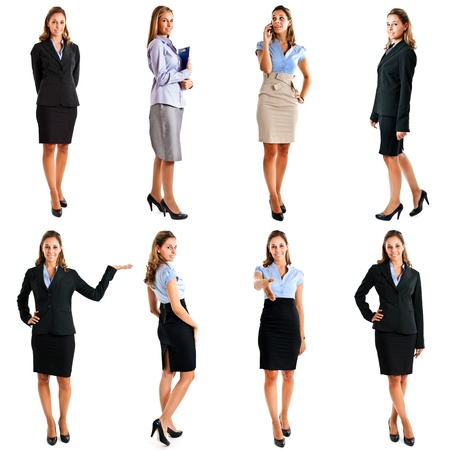 Collection of full length portraits of a beautiful businesswoman photo