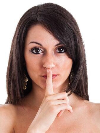 noiseless: Beautiful girl asking for silence