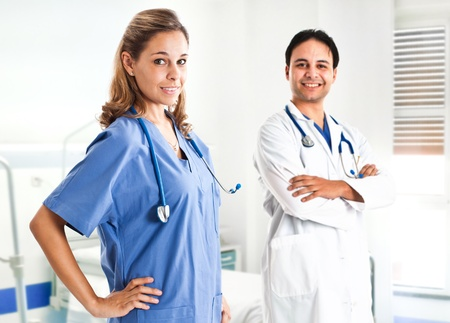 Nurse and doctor in a clinic photo