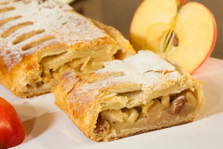 Clouse-up of a delicious home-made apple strudel photo