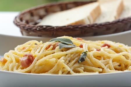 Spaghetti carbonara, a typical italian dish photo
