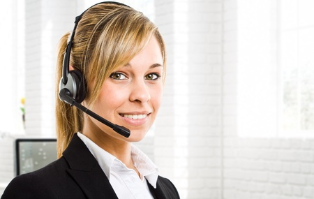 contact center: Portrait of a beautiful customer representative
