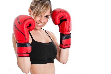 Young beautiful female boxer portrait photo