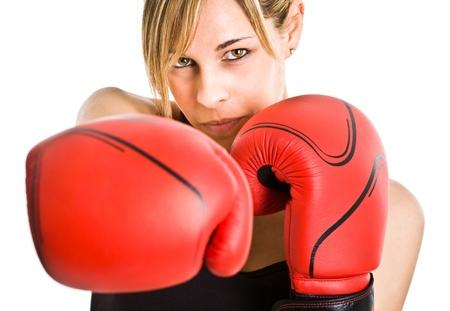 Young beautiful female boxer portrait photo