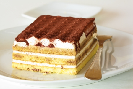 Cake with cream and chocolate, also called 'tiramisu' in Italy photo