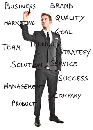 small business team: Businessman writing business related words on the screen