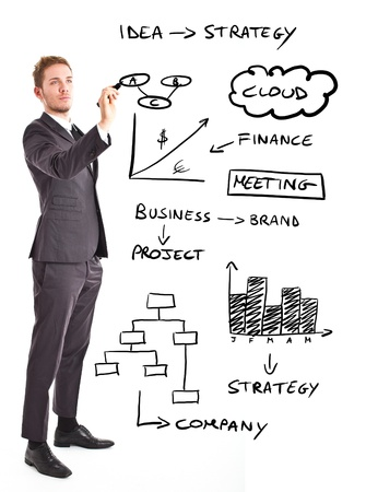Handsome businessman writing business concepts on the screen Stock Photo - 14075675