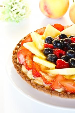 fruit cake: Beautiful decorated fruit cake close-up