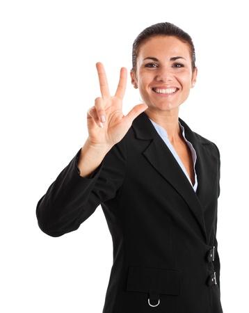 trois: Compter femme. Partie d'une s�rie de une � cinq Banque d'images