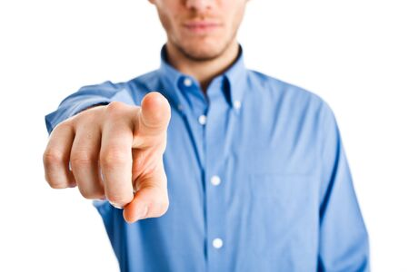 Man pointing his finger at you photo