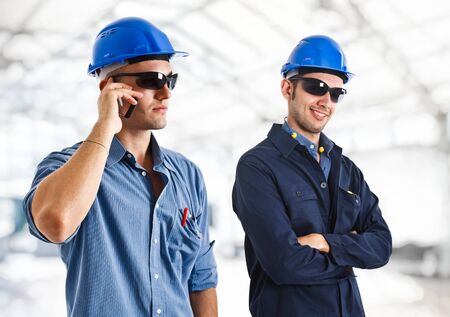Portrait of two engineers at work Stock Photo - 14116138