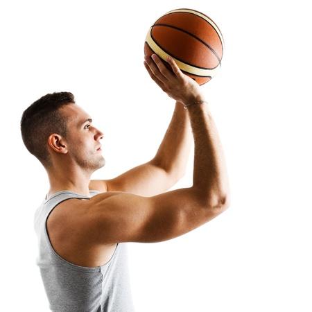 basketball team: Basketball player in free throw pose Stock Photo
