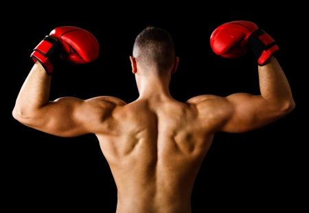 boxer: Boxer levantando los brazos en se�al de victoria Foto de archivo