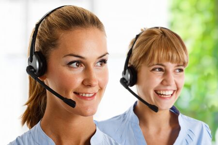 contact center: Portrait of a beautiful customer representative at work Stock Photo