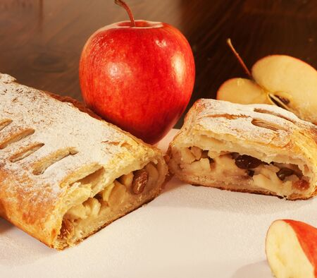 Close-up of a delicious homemade apple strudel. photo