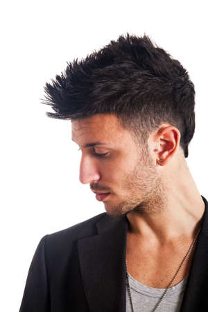 men hairstyle: Fashion portrait of an handsome young man Stock Photo