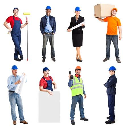 trabajadores: Retrato de cuerpo entero de muchos trabajadores