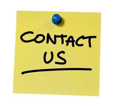Contact us written on a sticky note