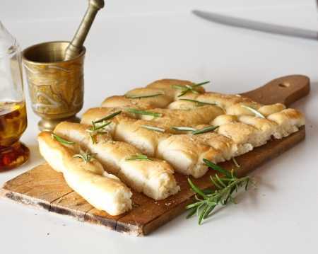 White pizza with fresh rosemary Stock Photo
