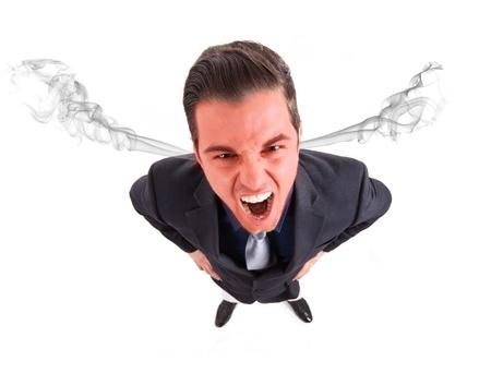 personne en colere: Angry affaires frustr� avec l'explosion de t�te