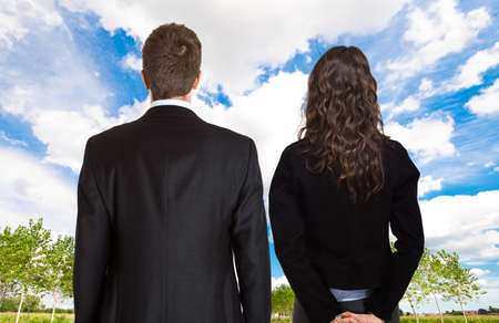 two visions: Business people looking at the future