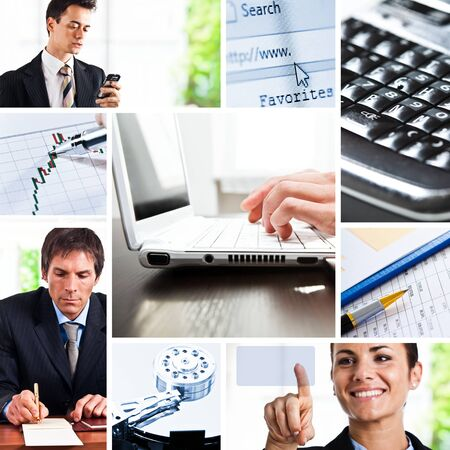 job searching: Composition of images representing business comunication Stock Photo