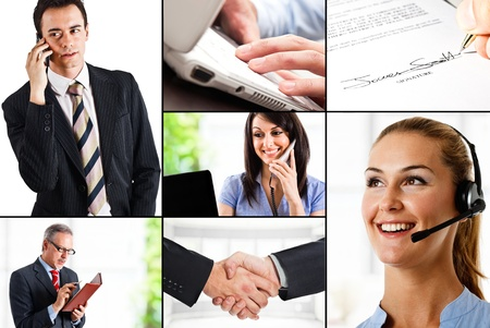 Collage of business related images photo