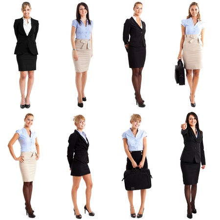 women business: Collection of full length portraits of businesswomen Stock Photo