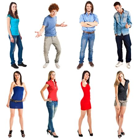 Collection of full length portraits of young happy people photo