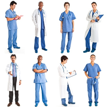 Collection of full length portraits of medical workers photo